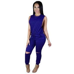 Sleeveless Knee Hole Drawstring Jumpsuit